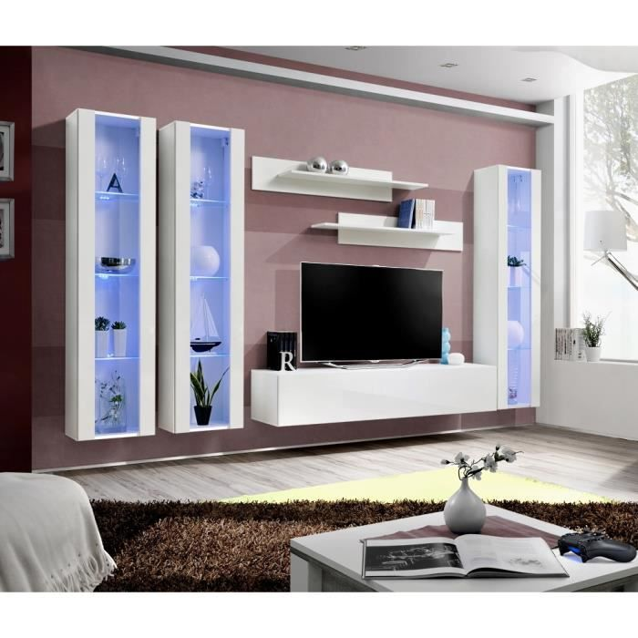 ensemble meuble tv mural fly c blanc avec led achat. Black Bedroom Furniture Sets. Home Design Ideas