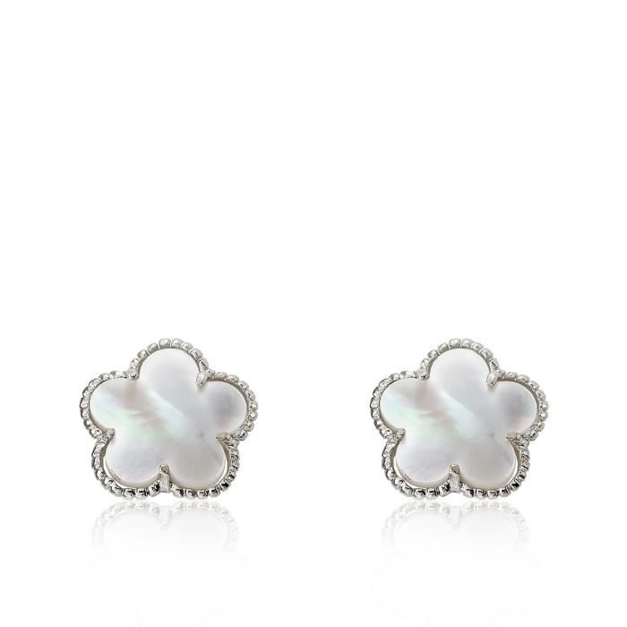 Womens Country Chic Rhodium-plated Mother Of Pearl Flower Stud Earring R13FA