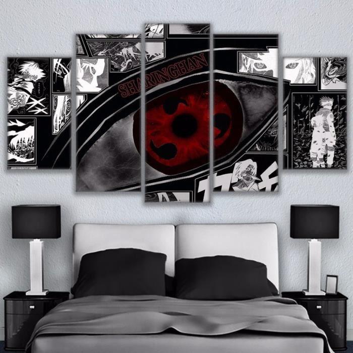 pour Le Salon Mur Art Childrens Room,A-20/×30/×2+20/×40x2+20x50/×1 Affiche De Personnage Danime Naruto Sharingan Tableaux Decoration Murale HD Photo LFLYBCX Impression sur Toile Intissee 5 Pieces