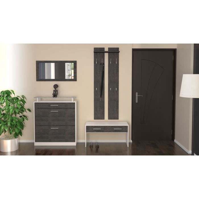 ensemble de meubles d 39 entr e blanc bois weng achat vente meuble d 39 entr e ensemble de. Black Bedroom Furniture Sets. Home Design Ideas