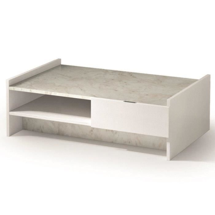 Table Basse Design Marvel Blanche Plateau En Marbre éclairage Led