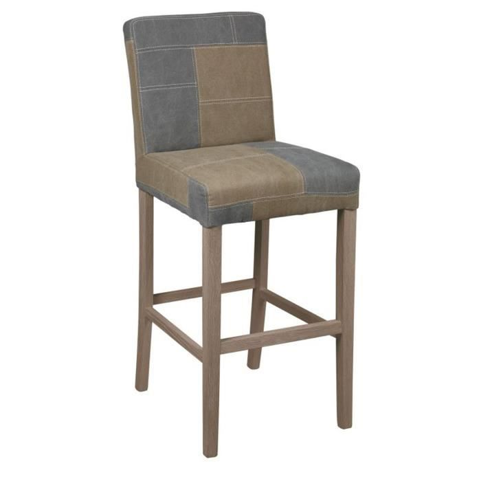 tabouret de bar marron et bleu achat vente tabouret de bar ch ne tissu polyester coton. Black Bedroom Furniture Sets. Home Design Ideas