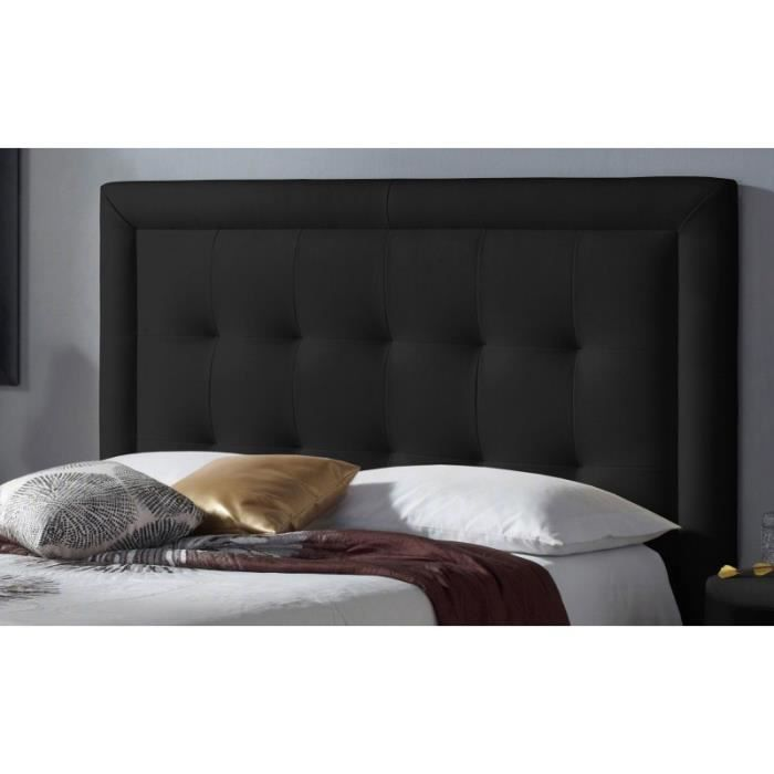 t te de lit pu square couleur noir mesure lit de. Black Bedroom Furniture Sets. Home Design Ideas