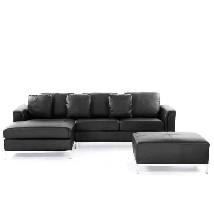 canap d 39 angle d canap avec pouf en cuir noir sofa oslo achat vente canap sofa. Black Bedroom Furniture Sets. Home Design Ideas