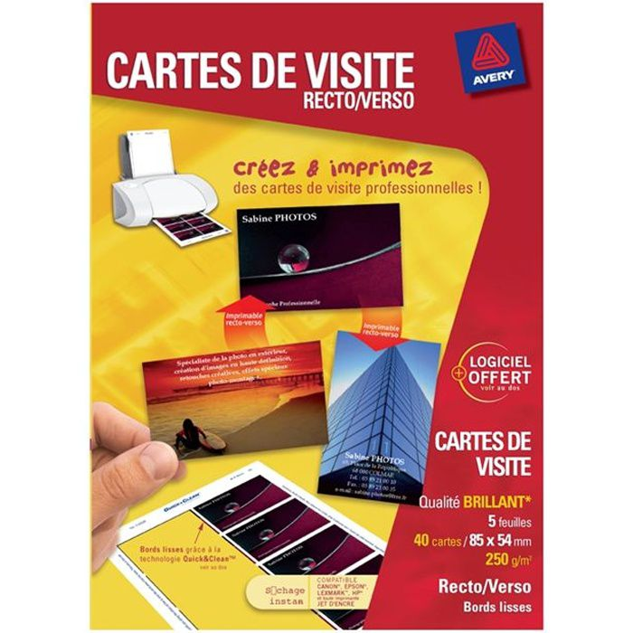 Avery Cartes De Visite 85x54 Mm