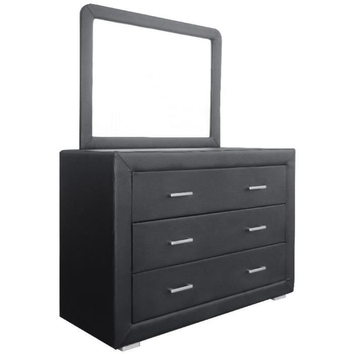 commode avec miroir norane noir achat vente commode de chambre commode avec miroir norane. Black Bedroom Furniture Sets. Home Design Ideas
