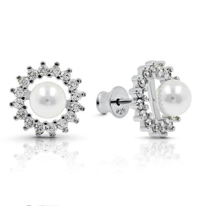 Gold Gala Boucles doreilles pour Femmes en Argent Sterling 925 avec Perles Blanchese