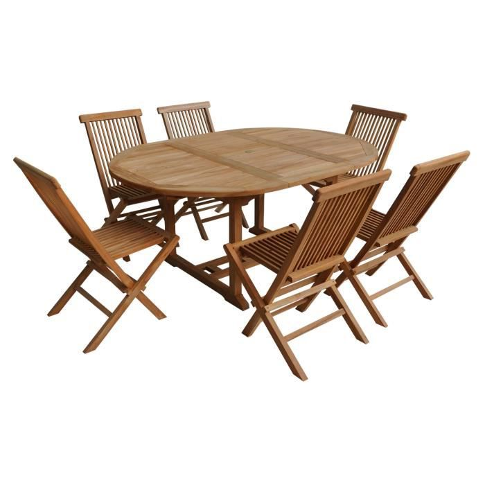 Salon de jardin LOMBOK - table extensible ronde en teck - 6 places ...