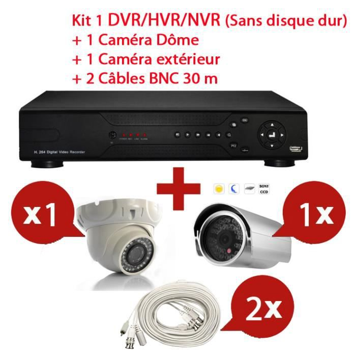 kit enregistreur video surveillance 2 cam ras achat vente cam ra ip kit enregistreur video. Black Bedroom Furniture Sets. Home Design Ideas