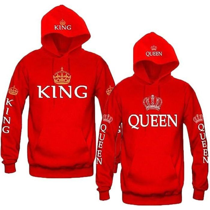 Les Femmes Couple Sweat Capuche Occasionnel King Queen Pull