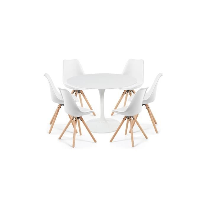 Clubber Laquée Tulipe Blanche Blanches 120 Table Cm6 Chaises Ybgf76yv