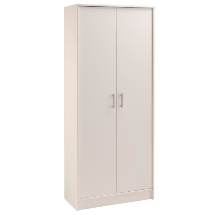 armoire 2 portes blanc nity achat vente armoire de. Black Bedroom Furniture Sets. Home Design Ideas