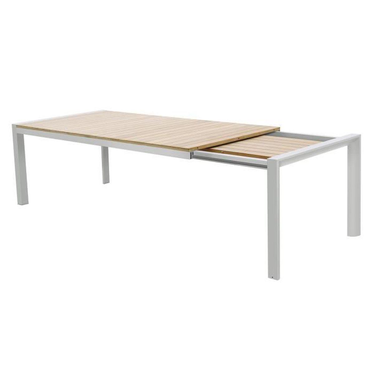 Table extensible en teck et alu ivoire 160-220 x 92 cm Léda ...