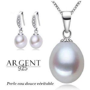 PARURE Parure Bijoux Perle de Culture Blanche Argent 925