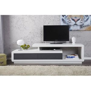 SOMMIER Meuble TV design Alice laqué blanc/anthracite 170