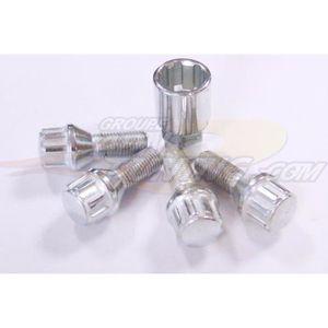 Rayon Boulons de roue 16 x oe style MERCEDES M14 x 1.5 27 mm thread silver