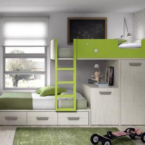 LITS SUPERPOSÉS Lit superposé avec bureau amovible, armoire et 3 t