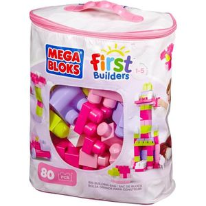 ASSEMBLAGE CONSTRUCTION MEGA BLOKS First Builders - Sac Rose - 80 Blocs