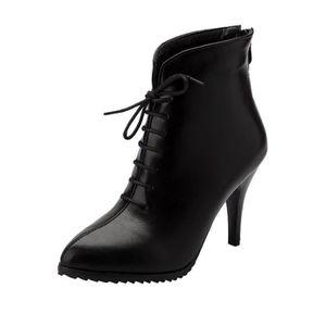 DENGZI Boots Femme Bottes en cuir /à talons hauts Chaussures /à lacets de couleur unie /à bout rond