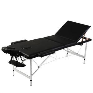 Table de massage Table de Massage Pliante 3 Zones Noir Cadre en Alu