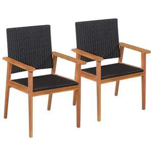 FAUTEUIL JARDIN  Chaise de jardin 2 pcs Résine tressée 56x61x88cm N