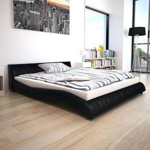 LIT COMPLET Lit avec matelas 160 x 200 cm Cuir artificiel noir