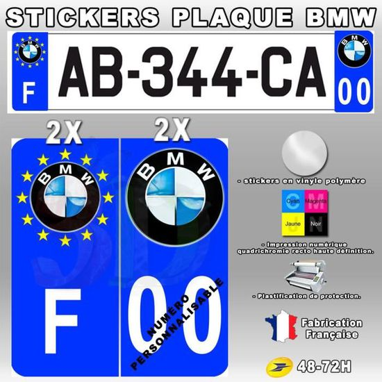4X Stickers Plaques D/'immatriculation Bmw Mpower Fond Noir 120X45mm