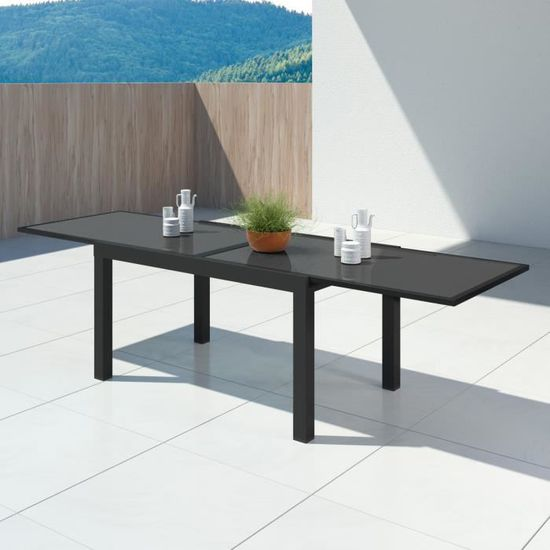 HARA XL - Table de jardin extensible aluminium - 140-280cm - 10 places -  Noir