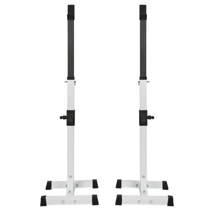 Rack Squat Réglable (105-160cm), Multifonction Haltère Rack, Repose Barre Musculation Support, Charge Max. 150 kg, Blanc