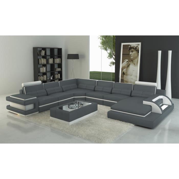 Canapé panoramique cuir gris et blanc design avec lumière IBIZA PANORAMIQUE (ANGLE DROIT)