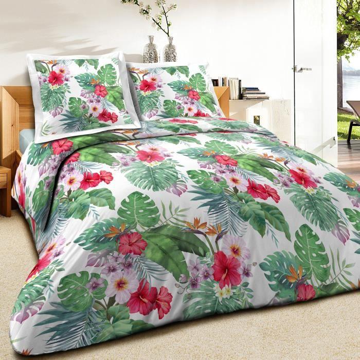 Housse de couette Coton Jungle et taie d'oreiller - taille:220 x 240 cm