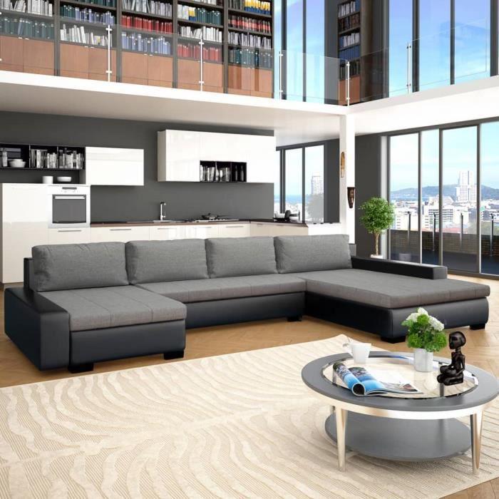 Confort Du Salon: Canapé Modulable - Convertible d'Angle 4-6 Places - Similicuir Avec Méridienne - Noir&Gris Clair