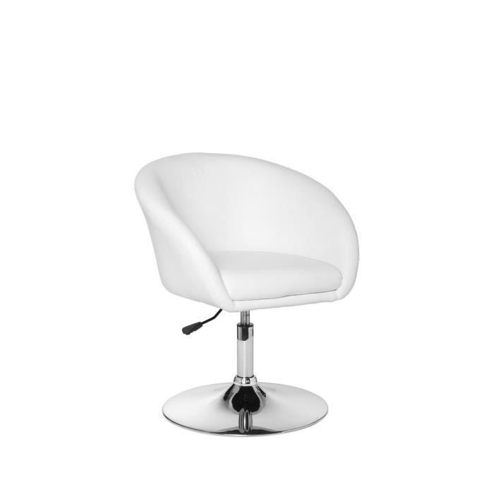 Fauteuil lounge réglable simili cuir Sally - Blanc -
