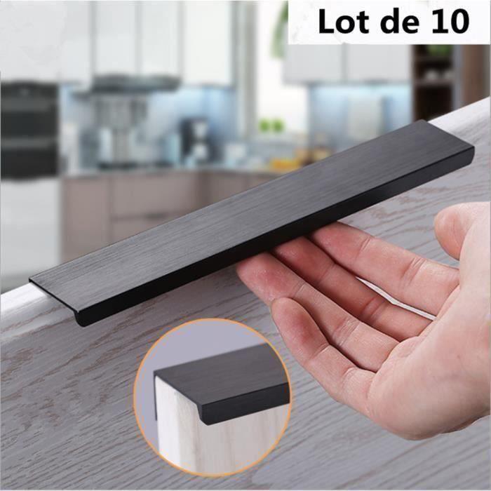 Design poignée de meuble aspect d'acier affiné 120 mm poignée d'armoire poignée de cuisine, Lot de 10 (Noir) L043E