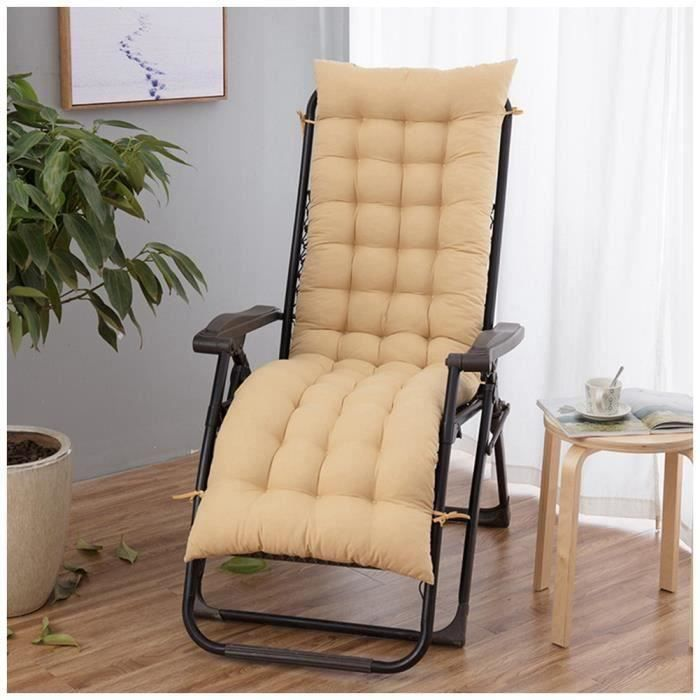 Coussin Bain de Soleil Jardin Pliable Anti-Dérapant Coussin Chaise Longue Epais Confort,48x170cm,Jaune