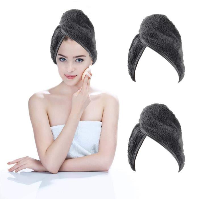 KinHwa Microfibre Séche Serviette Cheveux Enrouler Turban Soin Cheveux Serviette Bain Séchage Rapide Tordu pour Les Cheveux Mouil
