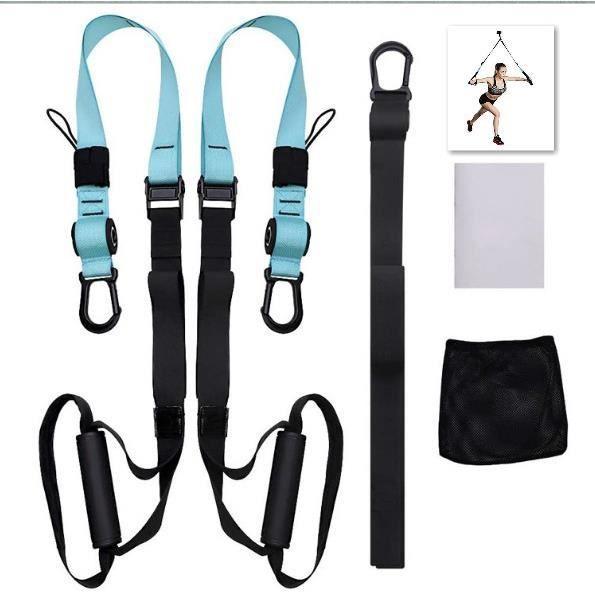 Sangle de Suspension D'exercice de Suspension Sangle Fitness Kit pour Musculation Multifonction Entraînement Stretch Home Gym-bleu