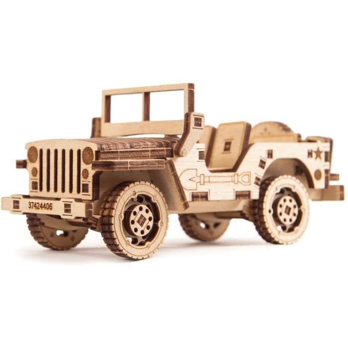 Wood Trick - Voiture Jeep - Puzzle en Bois 3D - Casse tete adulte et adolescent - Maquette en Bois - Assemblage sans Colle - 45