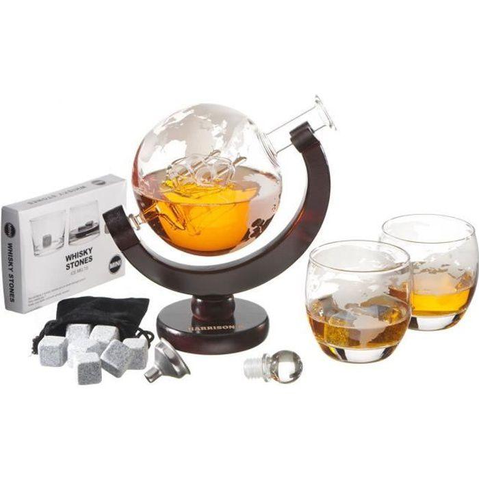 Ensemble Harrison's Finest - Avec carafe à whisky de 850 ml, bouchon en verre et 2 verres gravés - Motif de planète terre -