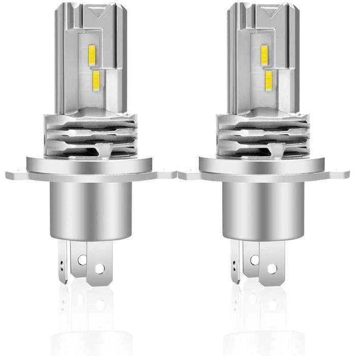 H4 LED Ampoules 6500K Blanche De Phares Avant De Voiture,Pour Auto Lampe Feux De Croisement-Feux De Route - (Pack de 2)