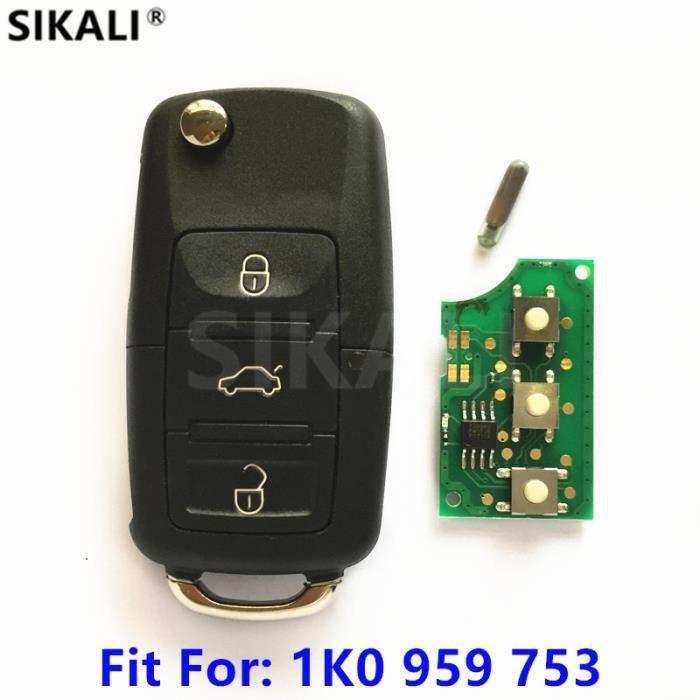 Coque clé,Clé de télécommande de voiture pour 1K0959753 Pour VW-VOLKSWAGEN CADDY-EOS-GOLF-JETTA-SIROCCO-TIGUAN-TOURAN ID48 puce