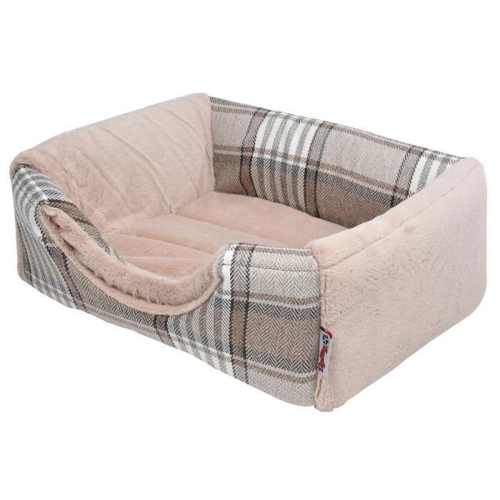 AMI CONFORT Panier Scottish 2 en 1 - 40x30x30 cm - Beige - Pour chien