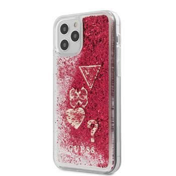 Coque Guess Liquid Glitter Charms pour iPhone 12 -12 Pro 6,1'' framboise