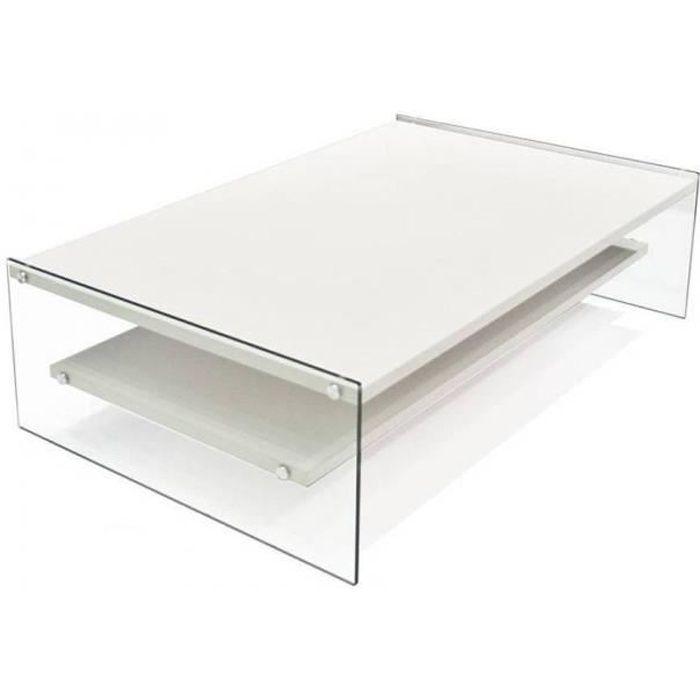 Table basse rectangle BELLA 2 plateaux blanc mat piétement en verre blanc Verre Inside75