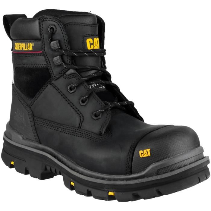 Caterpillar Mens Gravel 6 Inch Leather Work Safety Boots Black