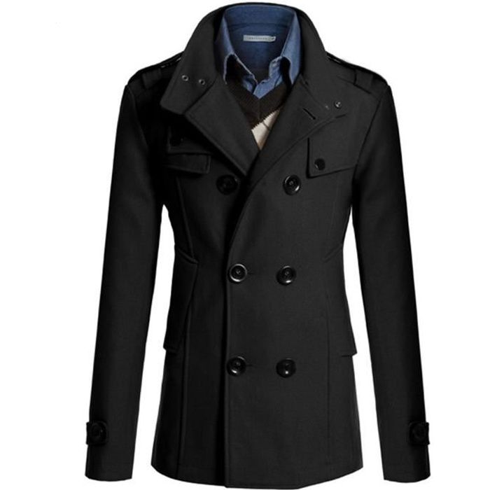 Trench Casual hommes Manteau Mode d'affaires à long Slim Pardessus Jacket Outwear Noir