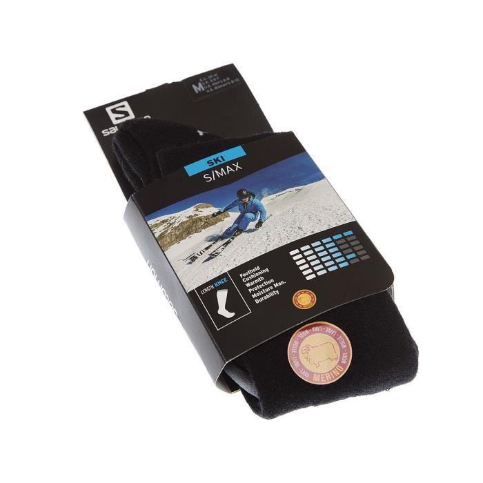 Salomon - Chaussette Longues - 1 paire - Pointe renforcée - Compression - Bouclette talon et orteil - Ski - Chaude - Noir - S/MAX