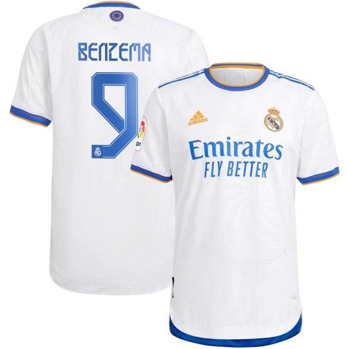 Nouveau Maillot de Foot 9 Karim Benzema Reals Madrids 2021 2022 Pas Cher pour Homme