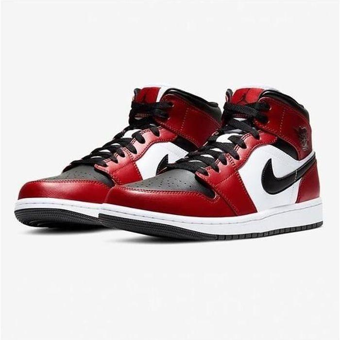 Nike Air Jordans 1 Mid Retro Chicago Black Toe Chaussures de Basket Pas Cher Jordans One pour Homme Femme Rouge et Noir