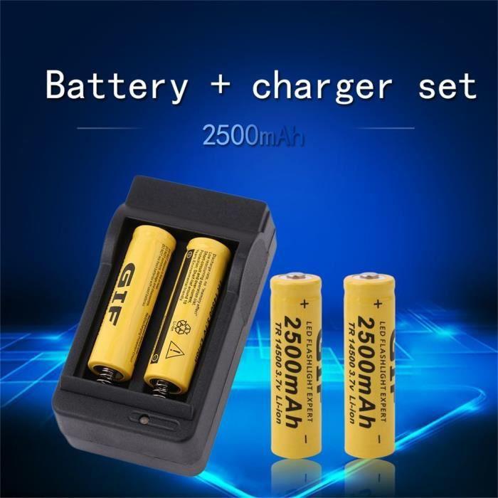 Batterie Li-ion rechargeable 3.7V 2500mAh 14500 GIF avec kit chargeur de batterie